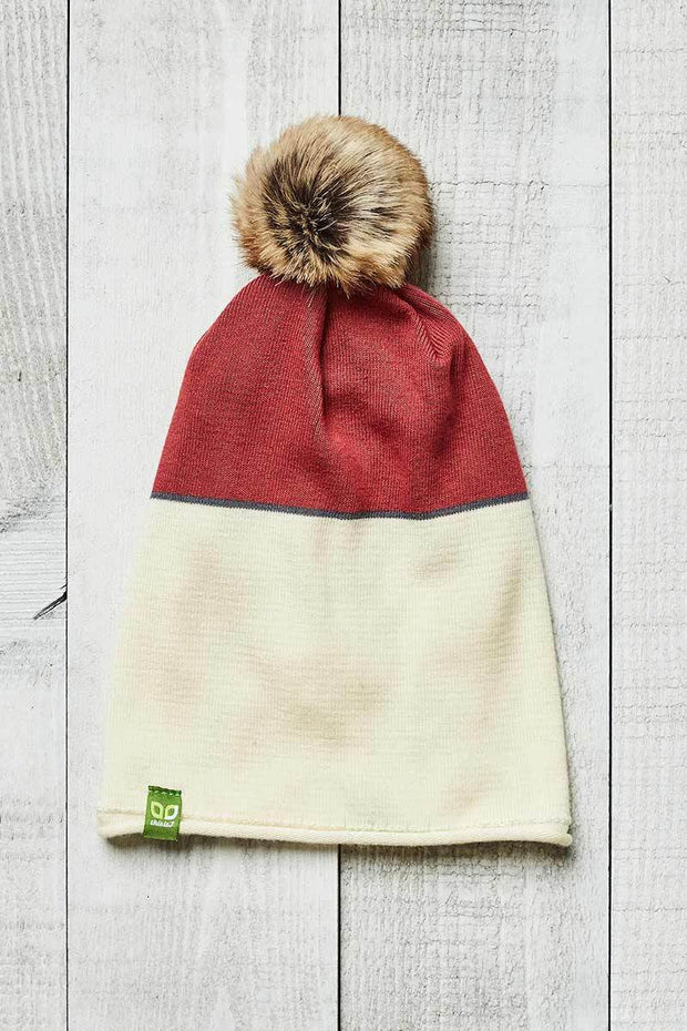 Bamboo PomPom Toque - Color Block, Cream & Coral - Made in Canada - This is J
