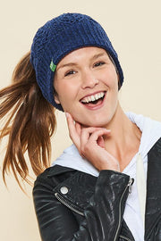 Messy Bun Toque - Blue - Made in Canada - This is J