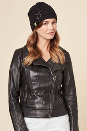 Classic Reversible Toque - Tessa Flower, Black - Made in Canada - This is J