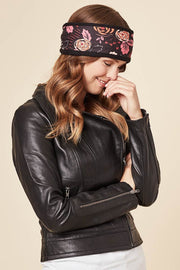 Cable Knit Headband - Tessa Flower, Black - Made in Canada - This is J