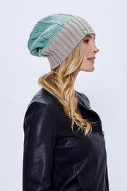 Rib/Rolled Cuff Beanie - Mint + H. Natural - Made in Canada - This is J