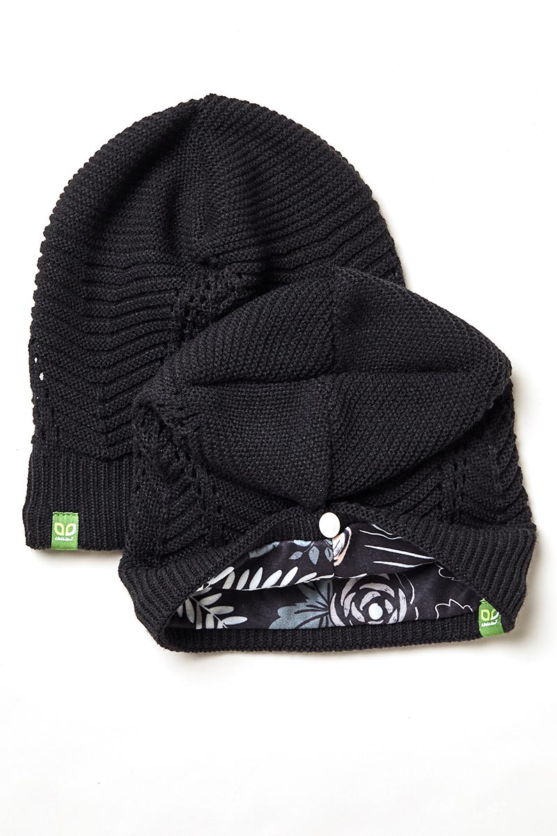 Floppy Knit Hat Toque Black