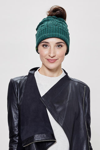 Messy Bun Toque - Forest Green