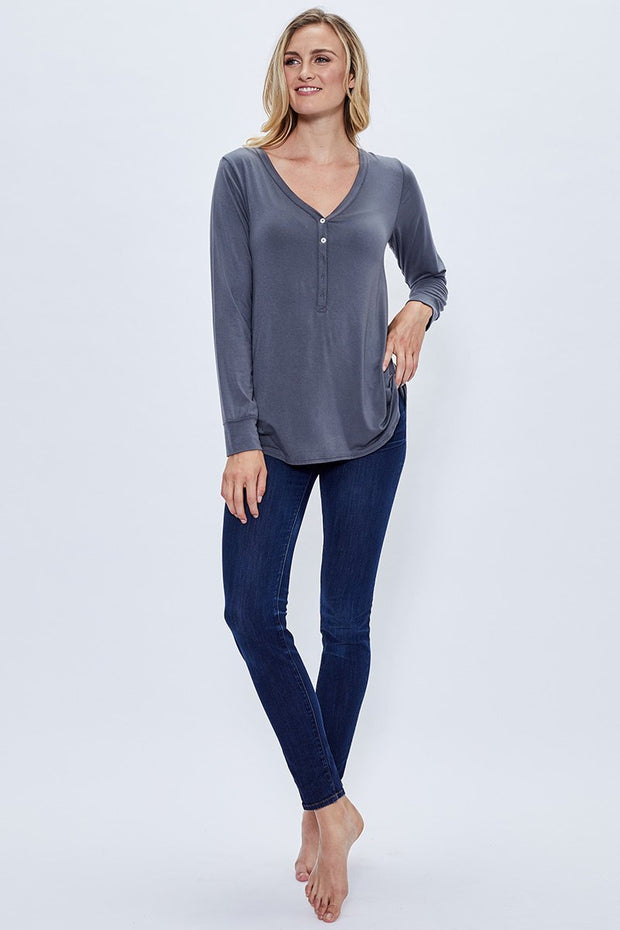 Womens Bamboo Henley Top Charcoal Grey | Made in Canada - This is J