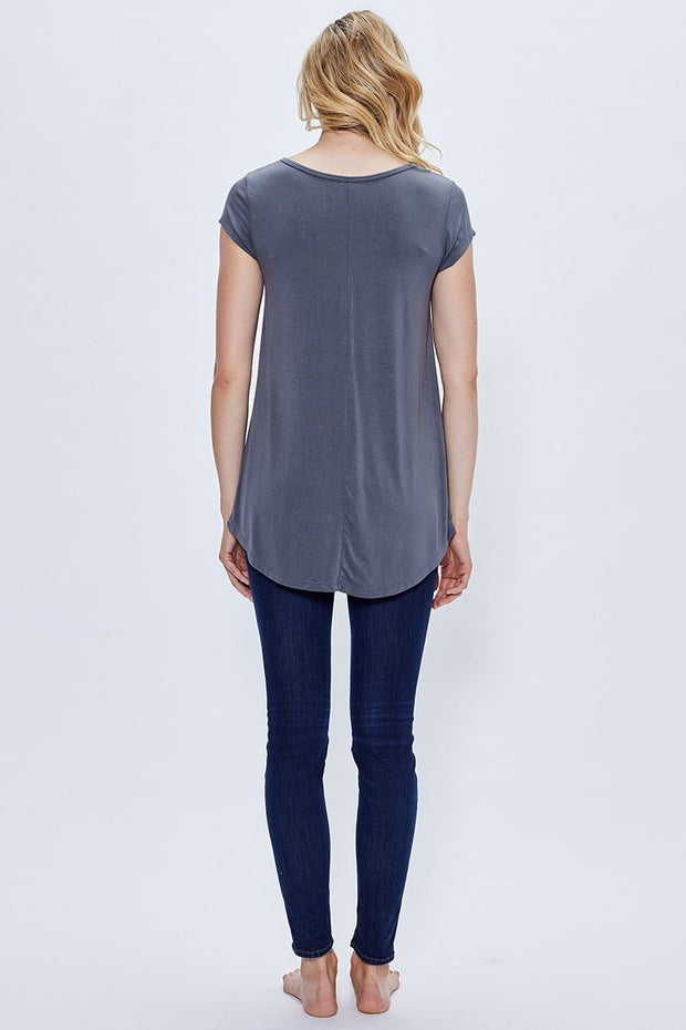 Women's Short Sleeve Bamboo Top - Charcoal Grey | Made in Canada - This is J