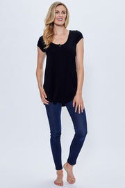 Women's Short Sleeve Bamboo Top - Black | Made in Canada - This is J