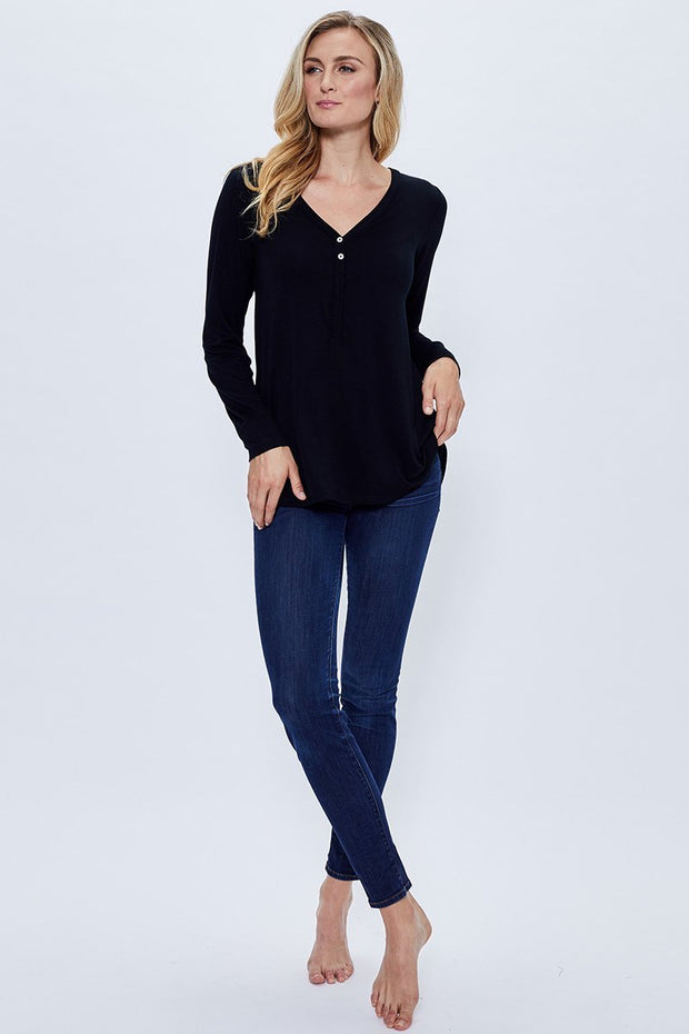 Womens Bamboo Henley Top Black | Made in Canada - This is J