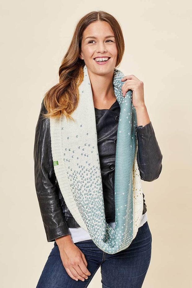 Infinity Scarf - Ombre, Cream & Dusty Teal - Made in Canada - This is J
