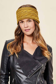Cable Knit Headband - Emmy Flower, Gold - Made in Canada - This is J