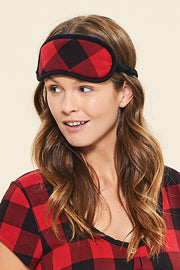 Bamboo Sleep Mask - Red Plaid