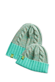 Kid Rib/Rolled Cuff Beanie - Mint + H. Natural - Made in Canada - This is J