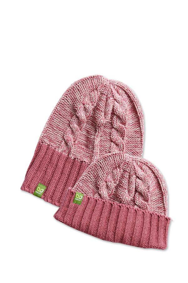 Kid Rib/Rolled Cuff Beanie - Rose + Winter White - Made in Canada - This is J