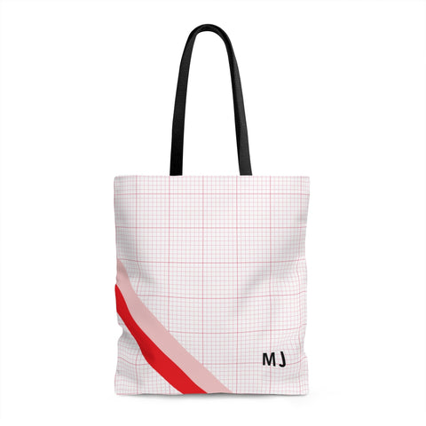 Striped Red Graph tote Bag