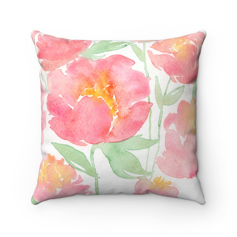 Peonies Floral Pillow