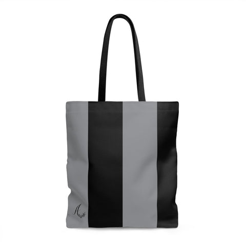Black and Grey Striped Tote Bag