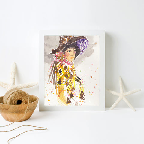 Girl with Hat Print