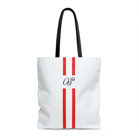 Blue Graph Monogram Tote Bag