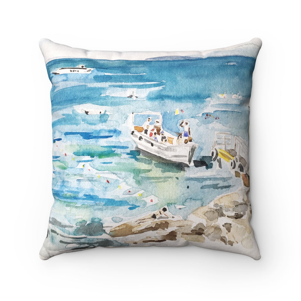 Girl On The Rocks Italy Pillow