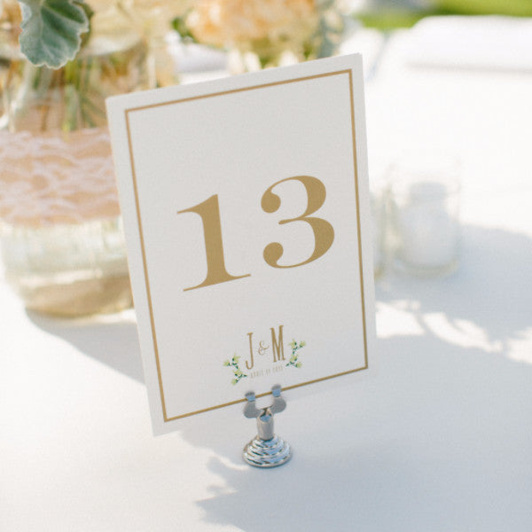 Floral border table numbers