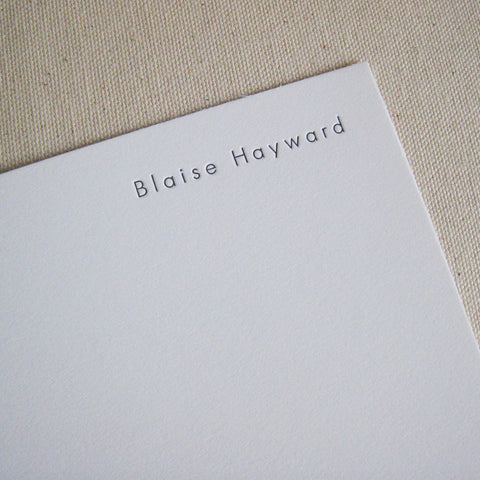 Blaise letterpressed flat card