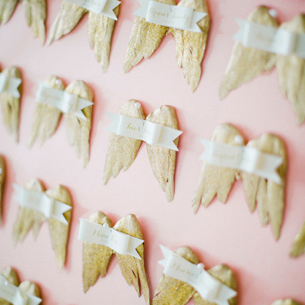 Angel wing escort cards
