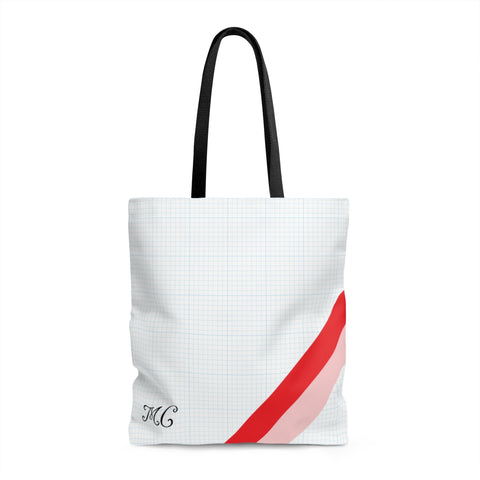 Red Pink Side Monogram Tote Bag
