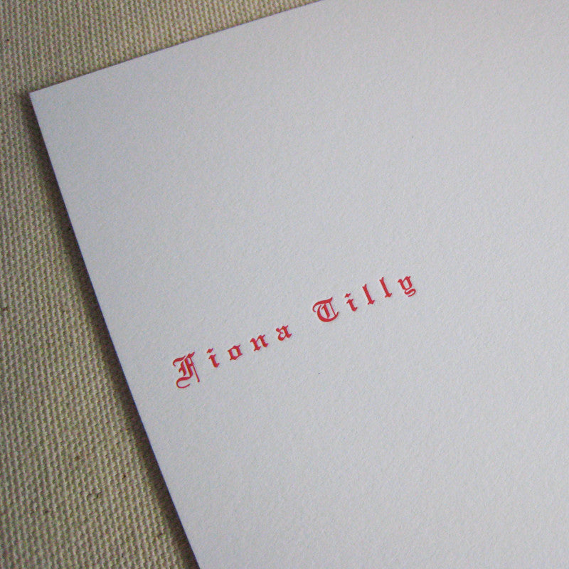 Fiona letterpressed flat card