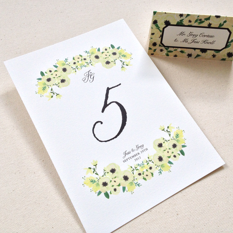 Floral watercolor table card