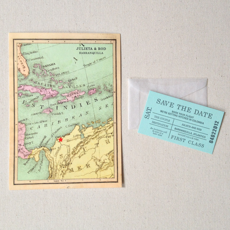 Vintage map save the date map + ticket