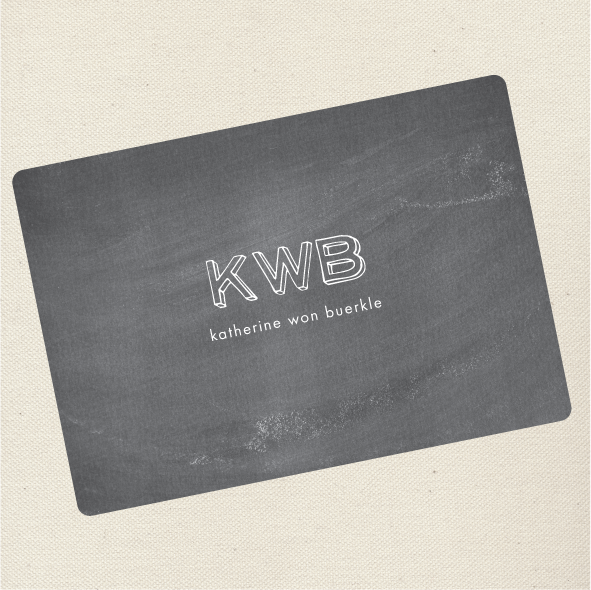 Outline Initials chalkboard flat card