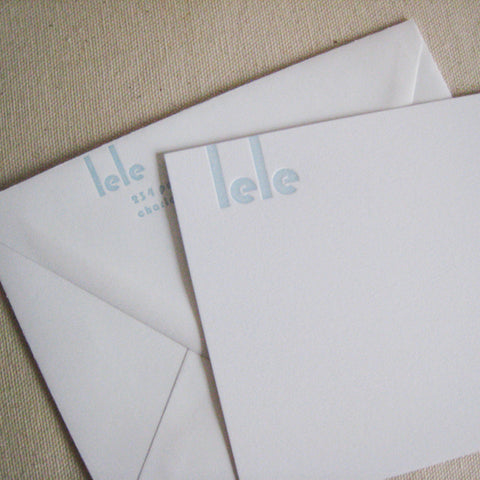 Lele letterpressed flat card