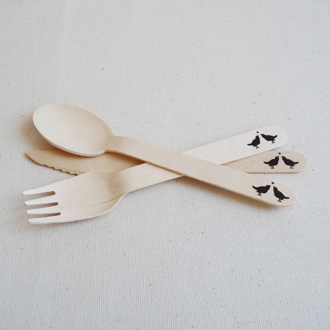 Lovebird wooden utensils