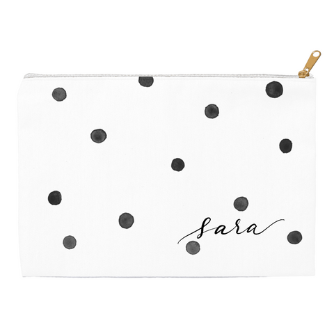 Watercolor Black Dots Pouch
