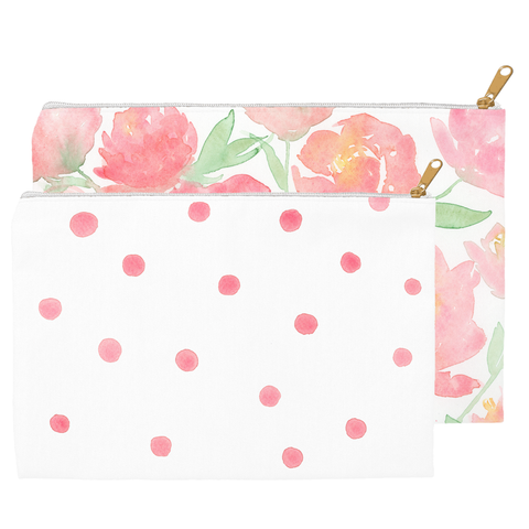 Peonies and Dots Pouch Set