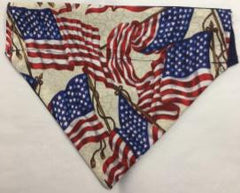 4th of July Reversible Through the Collar  Dog Bandana flags