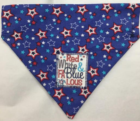 4th of July Reversible Through the Collar  Dog Bandana red white and fablueous