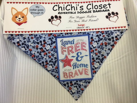 Land of the Free Because of the Brave Holiday Dog Bandana
