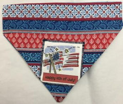 4th of July Reversible Through the Collar  Dog Bandana 4th flag