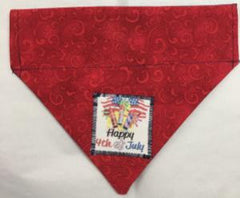 4th of July Reversible Through the Collar  Dog Bandana happy red