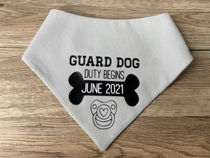 Pregnancy announcement- Guard dog duty begins. (Made to order)