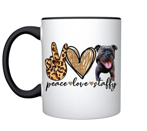 Coffee Mug - Peace Love Staffy