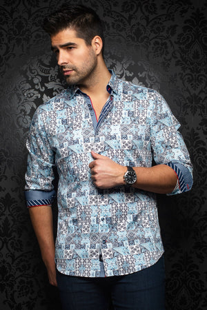 Au Noir Shirt | Alfonso Light Blue