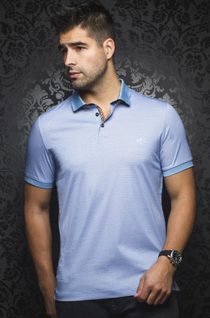 Au Noir Light Blue Short-Sleeve Stretch Night Out Polo Shirt - Barkley Light Blue