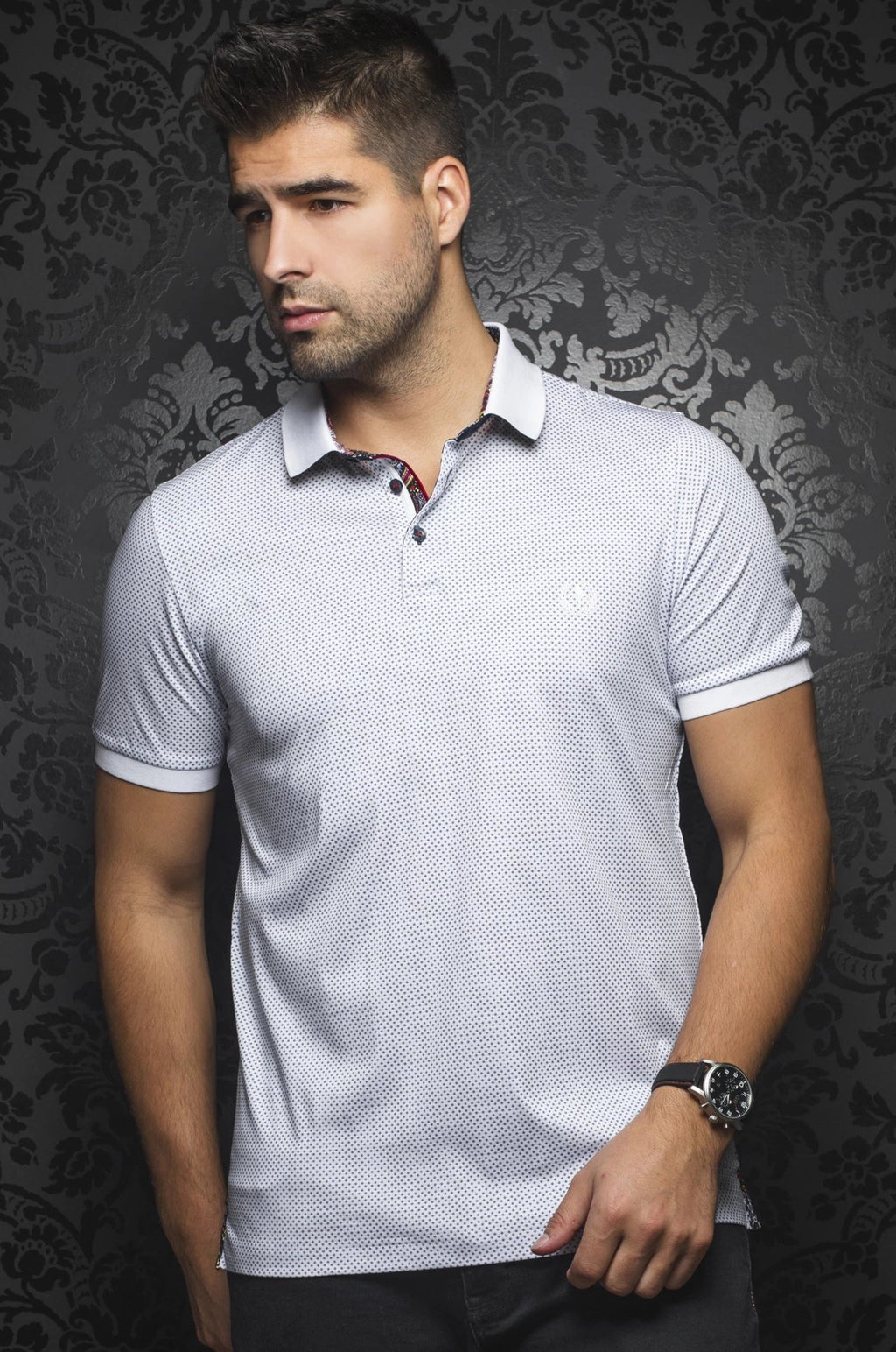 Au Noir White Short-Sleeve Stretch Night Out Polo Shirt - Barkley White