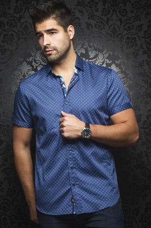 Au Noir Navy Short-Sleeve Night Out Shirt - BIAGIO (SS) navy