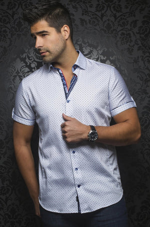 Au Noir White Short-Sleeve Night Out Shirt - CAINE (SS) white blue