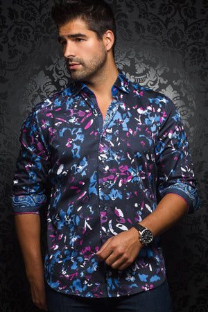 Au Noir Navy Shirt - Christobal Navy Fuchsia
