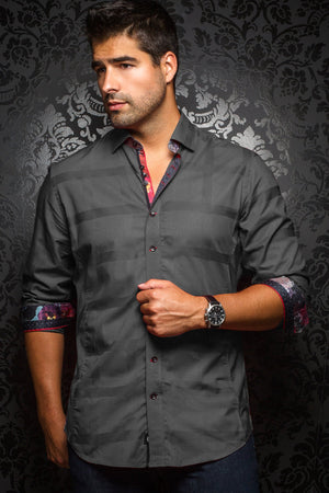 Au Noir Grey Shirt - Fabriano Charcoal