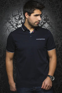 Au Noir Navy Short-Sleeve Stretch Night Out Polo Shirt - Freddie Navy