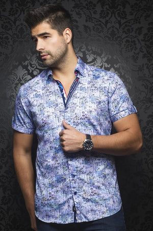 Au Noir Blue Short-Sleeve Resort Shirt - GABRIELI (SS) blue